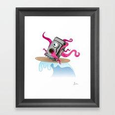 Monster Camera Surfing Framed Art Print