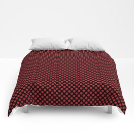 Black and Flame Scarlet Polka Dots Comforters