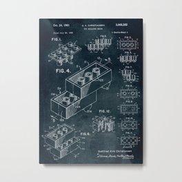 1958 Toy Building Brick patent art Metal Print