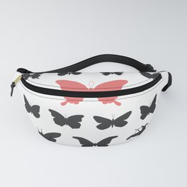 black red butterflies, cicada silhouette Fanny Pack