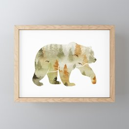 Autumn Forest Bear Silhouette Framed Mini Art Print