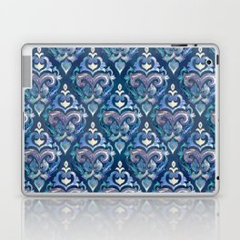 Persian Floral pattern blue and silver Laptop & iPad Skin