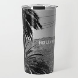 Hollywood Sign - Black and White Travel Mug