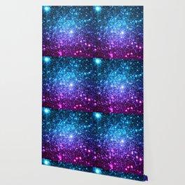 Glitter Galaxy Stars : Turquoise Blue Purple Hot Pink Ombre Wallpaper