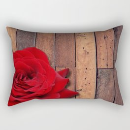 Red Rose & Wooden Background Rectangular Pillow