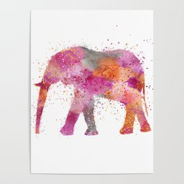 Artsy watercolor Elephant bright orange pink colors Poster