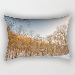 Golden Winter Forest Rectangular Pillow