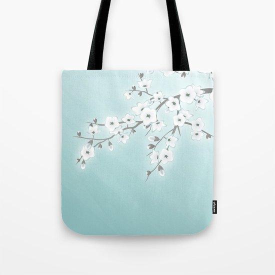 Cherry Blossoms Mint White Tote Bag