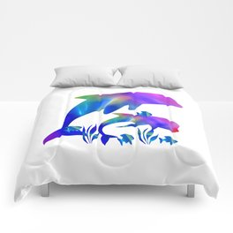 Rainbow Dolphins swimming in the sea Comforters