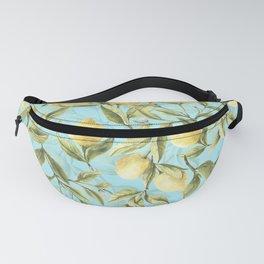 mediterranean summer lemon branches on turquoise Fanny Pack