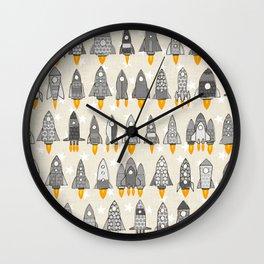retro rockets mono Wall Clock