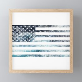 USA Ocean Flag Framed Mini Art Print