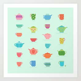 Tea Time on Soft Mint (teacups, mugs & teapots pattern) Art Print