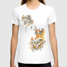 fox in foliage SMALL Womens Fitted Tee White