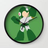 mega man Wall Clocks featuring Mega Man(Smash)Green by ejgomez