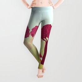 colorful forest with cute dwarf Leggings