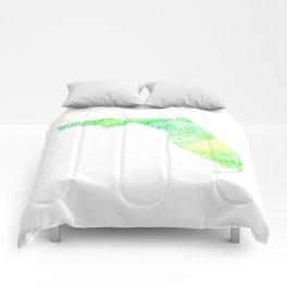 Typographic Florida - green watercolor Comforters