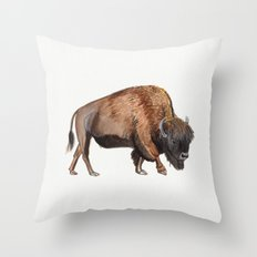 Little Watercolour Bison Drawing Throw Pillow