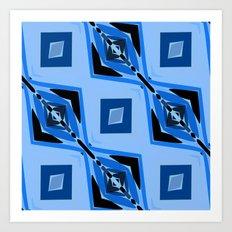 Black and Blue Diamond abstract Art Print