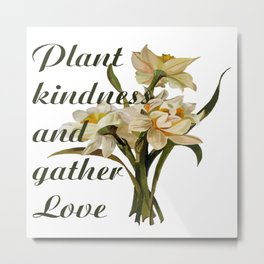 Plant Kindness and Gather Love Proverb With Daffodils Metal Print