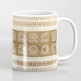 Maya Calendar Glyphs gold on pastel beige Coffee Mug