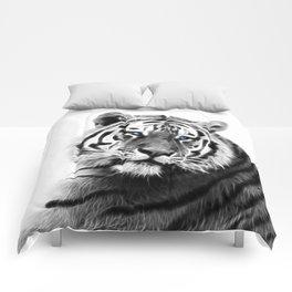 Black and white fractal tiger Comforters