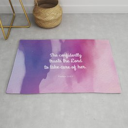 She confidently trusts the Lord to take care of her Rug