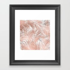 Tropical modern faux rose gold palm tree leaf white marble pattern Framed Art Print