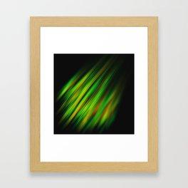 Colorful neon green brush strokes on dark gray Framed Art Print