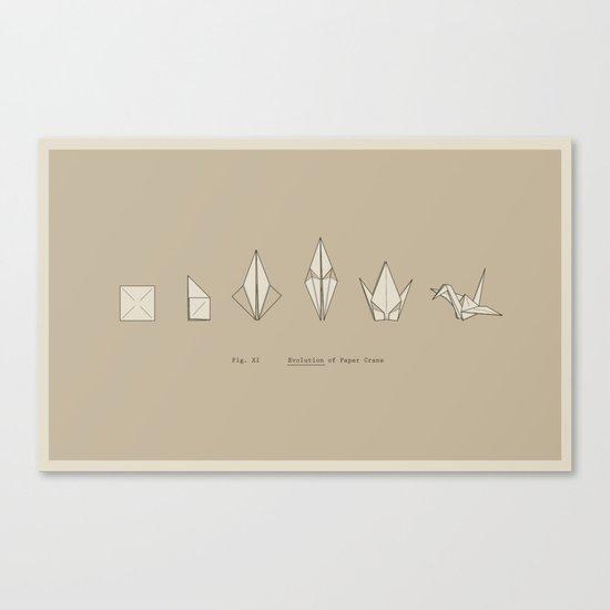 Evolution of Paper Crane Canvas Print