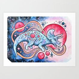Star Tricera   Cosmic Dinosaur Watercolor Art Print