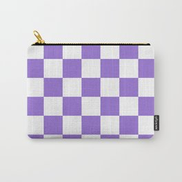 Checkered - White and Dark Pastel Purple Carry-All Pouch