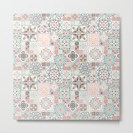 Moroccan Tile Pattern with Rose Gold Metal Print