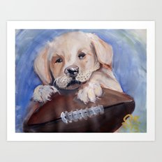 Puppy Touchdown Art Print