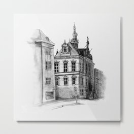 Old building on the Amstel Amsterdam Metal Print