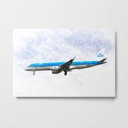 KlM Embraer 190 Metal Print