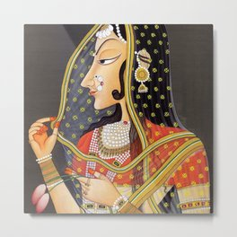 Bani Thani female portrait painting in traditional Rajasthani, the Mona Lisa of India  Metal Print