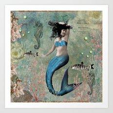 Sea Blue Mermaid Art Print