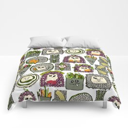 veggie sushi white Comforters