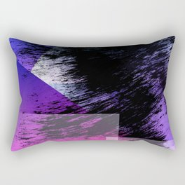 Heavy Black Brushstrokes over Magenta and Purple Shapes Rectangular Pillow