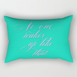 No One Wakes Up Like That - Victorian Swash bubble gum pink and acid green Rectangular Pillow
