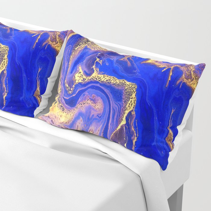 Marble gold and deep blue Pillow Sham