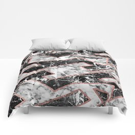 Geometrical modern faux rose gold black white marble Comforters