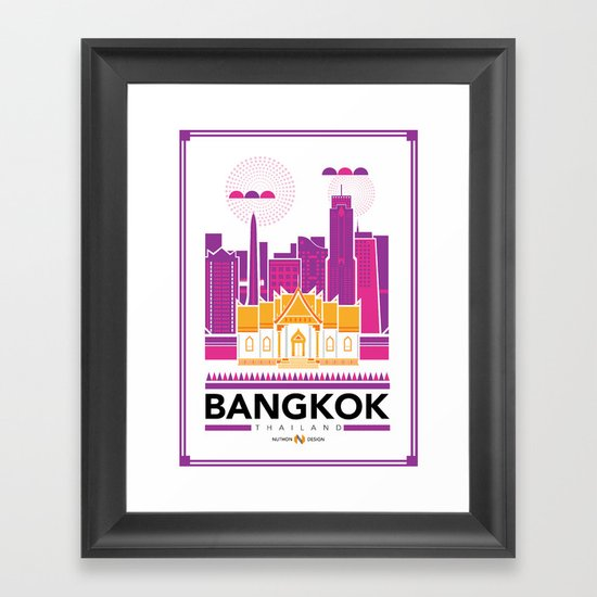 City Illustrations (Bangkok, Thailand) Framed Art Print