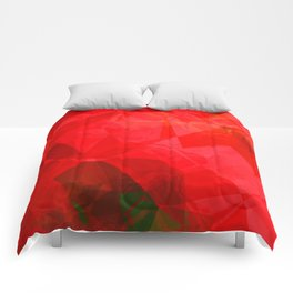 Mottled Red Poinsettia 1 Ephemeral Abstract Polygons 1 Comforters