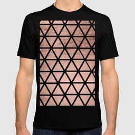 Geometric faux rose gold foil triangles pattern T-shirt