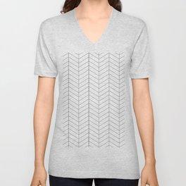 Herringbone - Black + White Unisex V-Neck