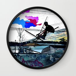 Let's Scoot! - Stunt Scooter at Skate Park Wall Clock
