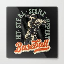 Baseball Lover Vintage Retro Gift Metal Print