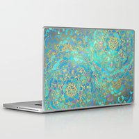 turquoise Laptop & iPad Skins featuring Sapphire & Jade Stained Glass Mandalas by micklyn